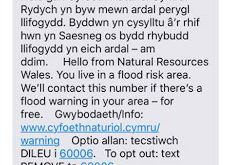 Flood warning text