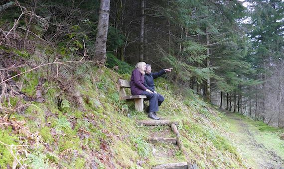 People on bench at Grogwynion