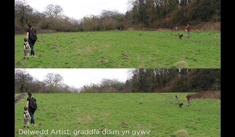 Delwedd Artist o'r arglawdd yn y ardal storfa llifddwr