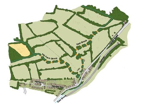 Map ddelwedd o Eastbrook yn dangos nant East Brook yn ystumio trwy caeau gyda lleoliadau bras y rhwystrau rhidyllog