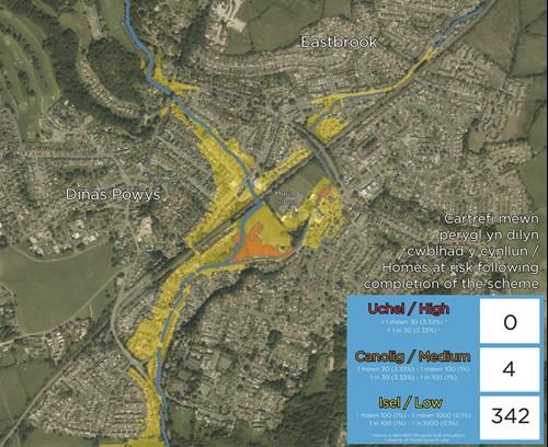 Map o Ddinas Powys yn dangos cartrefi sydd mewn perygl o lifogydd yn dilyn cwblhad y cynllun gydag ardaloedd melyn ac ambr i ddynodi risg isel a chanolig