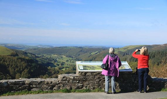 Two women at viewpoint in Bwlch Nant yr Arian