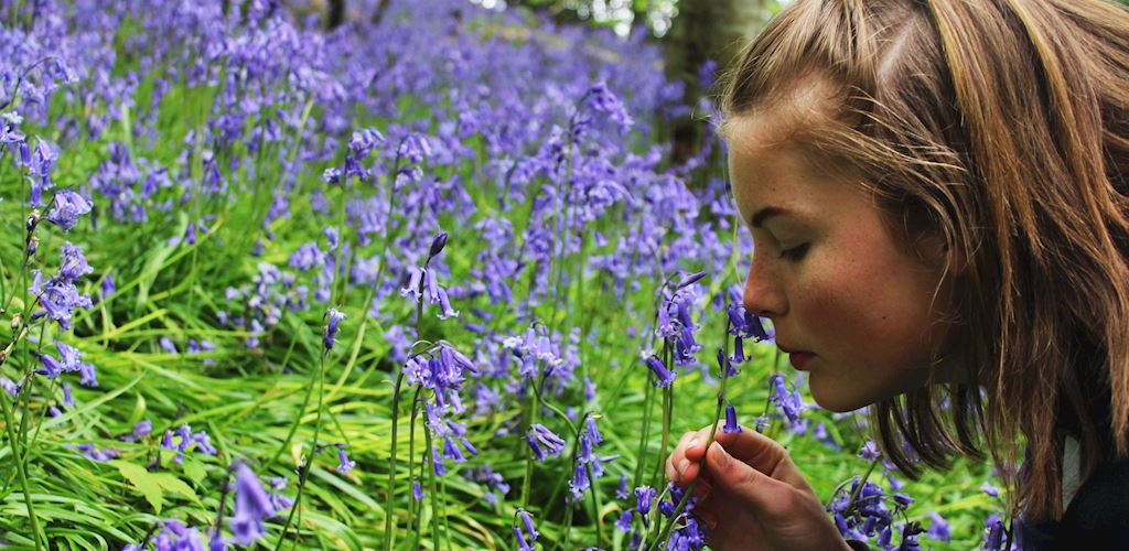 Woman smelling a bluebell