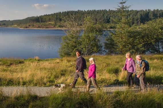 Group walking near a reservoir