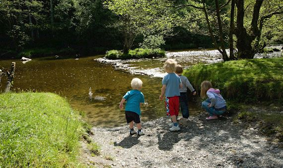 Children by river