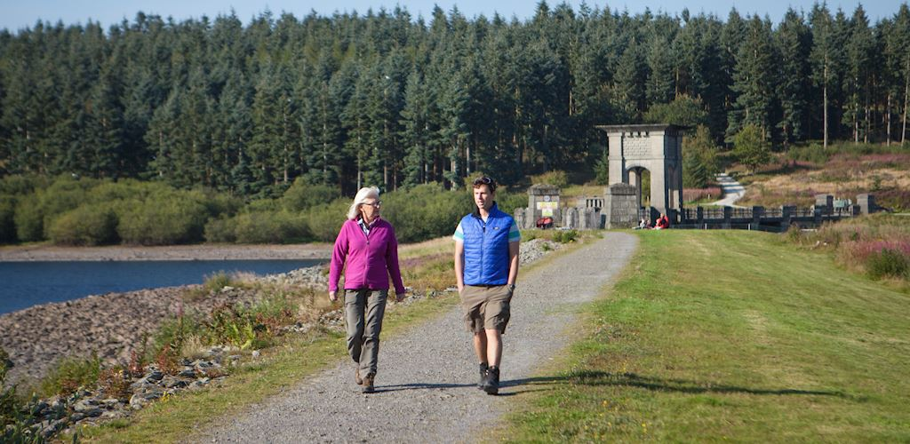 Couple walking at Alwen Reservoir