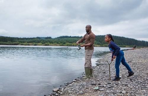 Man and child fishing at Llyn Brenig