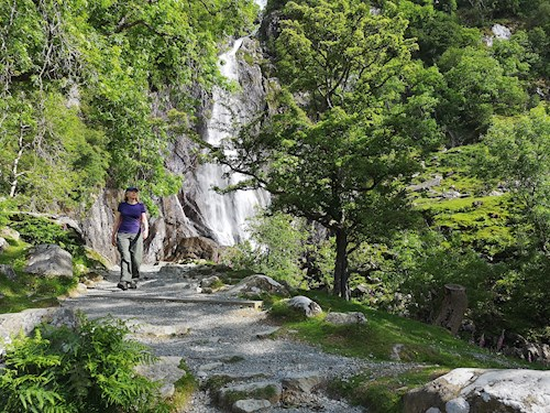 Woman on Aber Falls Walk