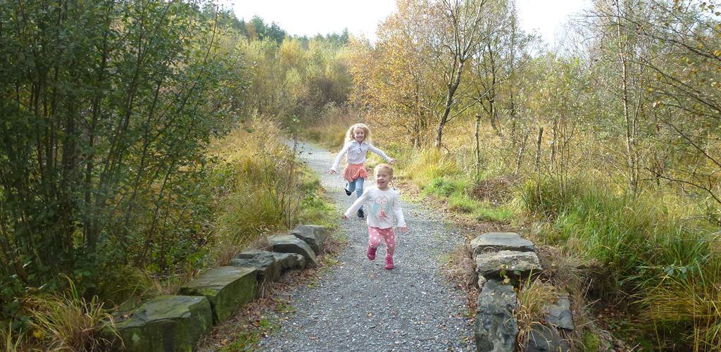 Children running on path