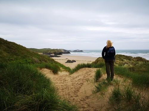 Woman on dunes