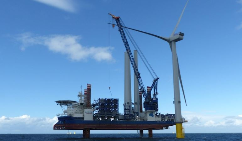 Image of an offshore wind turbine