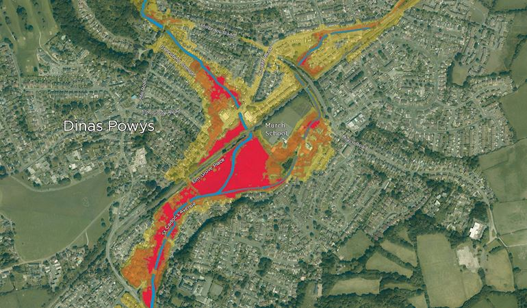 A map of Dinas Powys with coloured areas showing the differenct levels of flood risk