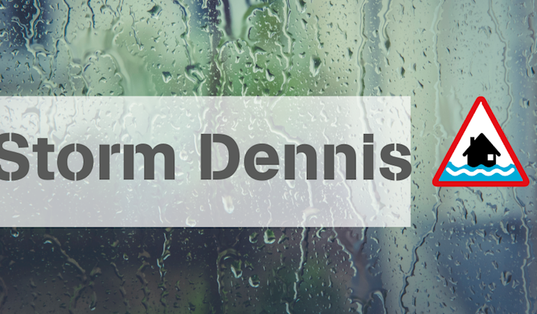 Image of rain on a window with the text Sotrm Dennis