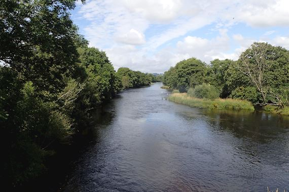 View from Pont Dyfrdwy, River Dee showing meadow habitat