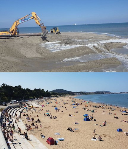 Before image showing vehicles pumping in and moving sand as a part of a beach nourishment programme in Colwyn Bay and after image showing the finished waterfront development with people enjoying the wider beach as a result of beach nourishment as well as the more traditional seawall behind.