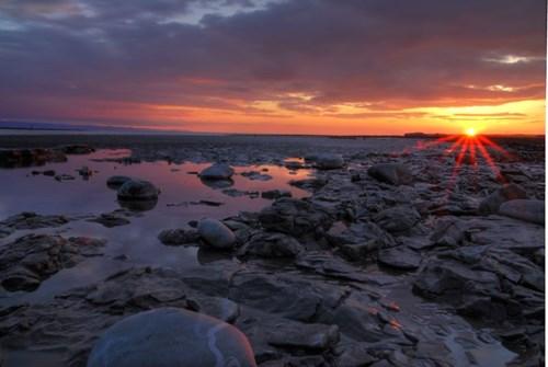 Beach at Aberthaw at sunset