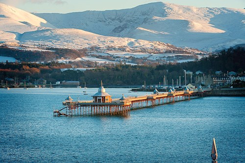 Bangor Pier and view of Snowdonia in the background