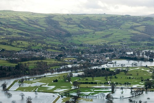 View of Conwy Valley during flood