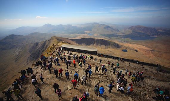 Snowdon Summit, Crowded With Visitors During August