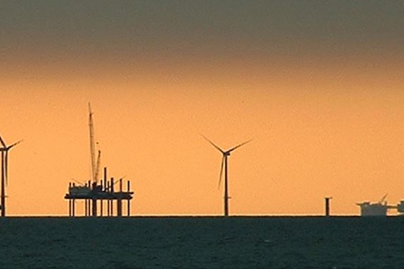 A view of the horizon at sunset during the Gwent Y Môr windfarm construction, off of the coast of North Wales